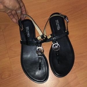 Leather MK T-Strap Sandal